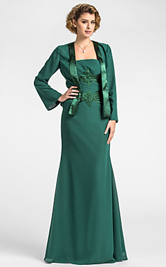Sheath/Column Strapless Floor-length Chiffon And Stretch Satin Mother of the Bride Dress With A Wrap