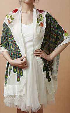 Fantastic Rayon Evening/Wedding Shawl With Embroidery (More Colors)
