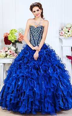 Ball Gown Sweetheart Floor-length organza avondjurk met glanzende Beading En Cascading Ruffles