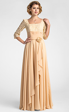 A-line Square Floor-length Lace And Chiffon Mother of the Bride Dress With A Wrap