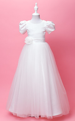 A-line Jewel Floor-length Satin And Tulle Flower Gril Dress