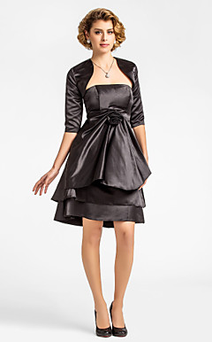 A-line Strapless Knee-length Satin Mother of the Bride Dress With A Wrap