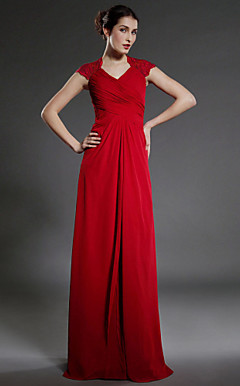 Sheath/Column Floor-length Chiffon Matte Satin Mother of the Bride Dress