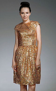 Sequin Fabric Sheath/ Column Jewel Neckline Knee-length Cocktail Dress inspired by Jeanne Tripplehorn at Emmy Award