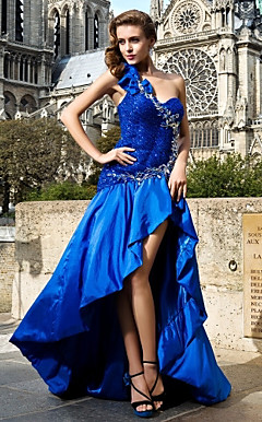 A-line/Princess Asymmetrical One Shoulder Taffeta And Sequined Evening Dress