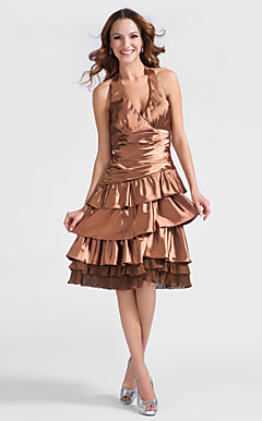 A-line Halter Knee-length Stretch Satin Cocktail Dress