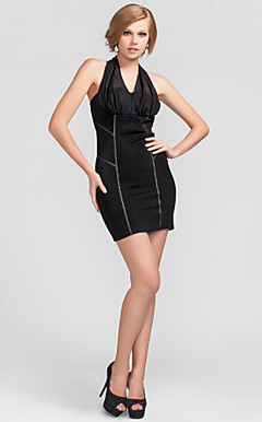 Sheath/Column Halter Short/Mini Knitwear Cocktail Dress