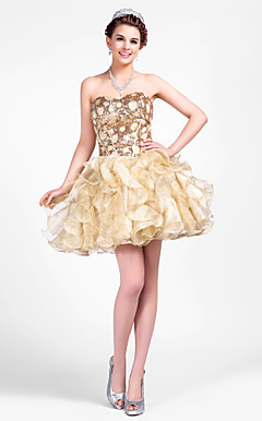 Ball Gown Sweetheart Short/Mini Knitwear|Tulle Prom Dresses
