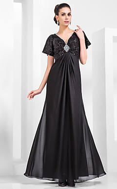 Sheath/Column V-neck Floor-length Sequined And Chiffon Evening Dress