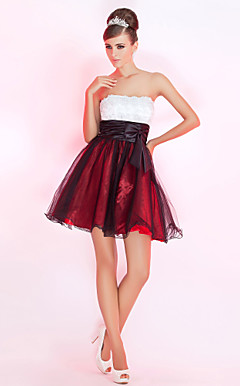 vestido de cocktail de tule curto / mini-a-line strapless