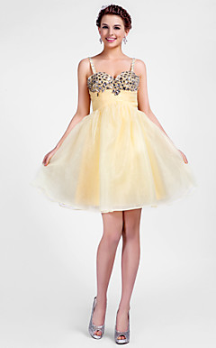 Ball Gown Sweetheart korte / mini organza cocktail jurk