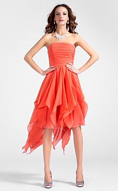 A-line Strapless Asymmetrical Chiffon Cocktail Dress