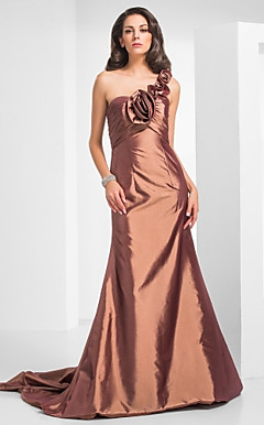 Trumpet/Mermaid One Shoulder Court Train Taffeta Evening Dress