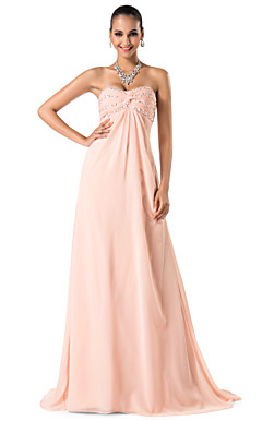 Sheath/Column Sweetheart/Spaghetti Straps Sweep/Brush Train Chiffon Evening Dress
