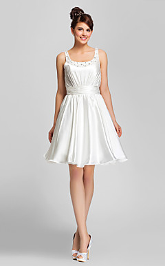 A-line Scoop Knee-length Charmeuse Cocktail Dress