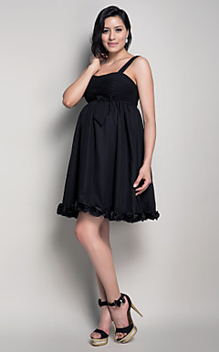 A-line Straps Knee-length Chiffon Maternity Bridesmaid Dress