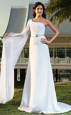 Sheath/Column One Shoulder Sweep/Brush Train Chiffon Wedding Dress With Removable Belt