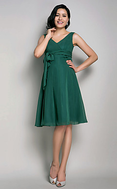 A-line V-neck Knee-length Chiffon Maternity Bridesmaid Dress