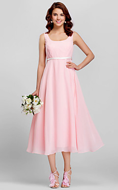 Sheath/Column Scoop Tea-length Satin Bridesmaid Dress