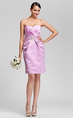 Sheath/Column Sweetheart Knee-length Satin Bridesmaid Dress