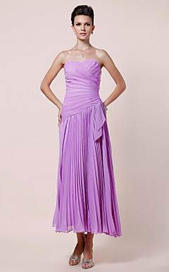 A-line Sweetheart Tea-length Chiffon Mother of the Bride Dress