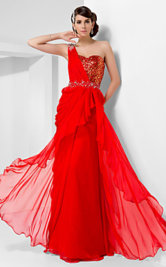 Sheath/Column One Shoulder Floor-length Chiffon And Sequined Evening Dress