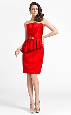 Sheath/Column Scalloped Knee-length Satin Cocktail Dress