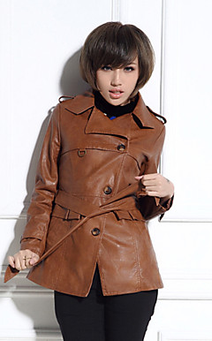 Long Sleeve Turndown Collar PU Casual/Party Coat