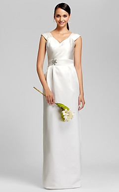 Sheath/Column V-neck Floor-length Satin Bridesmaid Dress