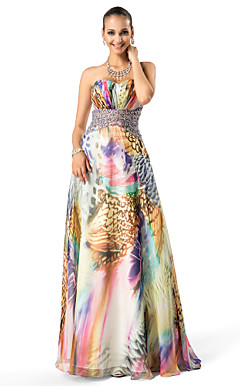 A-line|Princess Sweetheart Floor-length Printed Chiffon Evening Dress