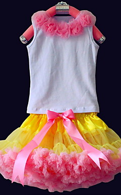 Fiori Tops con corrispondenti pettidress Set Cotone / Tulle Flower Girl Dress