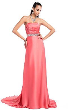 Sheath/Column Strapless Sweep/Brush Train Satin Chiffon Evening Dress