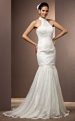 Trumpet/Mermaid High Neck Court Train Lace Wedding Dress With Removable Train