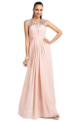 Sheath/Column Jewel Floor-length Chiffon Evening Dress