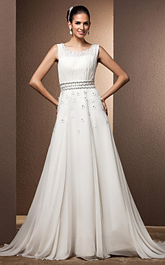 A-line/Princess Scoop Sweep/Brush Train Chiffon Wedding Dress