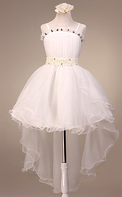 Nydelig spaghettistropper Tulle / Satin Wedding / Evening Flower Girl Dress