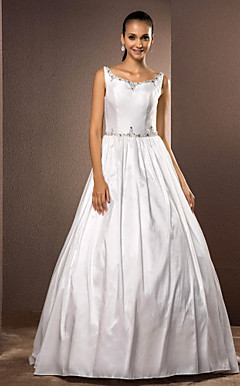 Ball Gown Scoop Floor-length Taffeta Wedding Dress