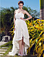  A-line Strapless Asymmetrical Chiffon Wedding Dress