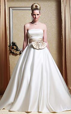 الجملة الجملة [XmasSale]فستان الزفاف ثوب الزفاف خط قطار مصلى الساتان حمالة مع القوس وشاح