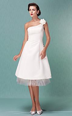 الجملة الجملة [XmasSale]فستان الزفاف غمد العمود طول الركبة قلد Charmeuse مغرفة صغيرة فستان أبيض مع زهرة