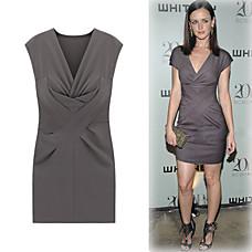 venta al por mayor sin mangas, escote V profundo reunieron vestido / inspirados en el estilo de la pista / vestidos de las mujeres (ff-1801bd042-0736)