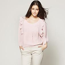 venta al por mayor gasas plisadas bate blusa mangas cortas o blusas de las mujeres (ss-c-cc1116001)