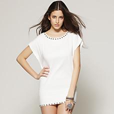 venta al por mayor ct dobladillo adornado blusa blanca