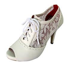 leatherette superior stiletto calcanhar ankle boots com sapatos de amarrar casamento mais cores disponíveis