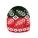 SAMII Jacquard Argyle Knit Beanie Hat-Black + Red (0036) (Start From 20 Units)-Free Shipping