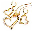 Single Heart Cubic Zircon Yellow/White Gold Earring+Pendant Set (GG1207) (Start From 3 Units)