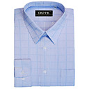 Top Grade Grid Check Point Collar Wrinkle Dress Shirt (QRJ006)-Free Shipping by Air Mail
