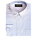 Men's Long Sleeve Button Down Collar Stripe Dress Shirt (QRJ005) -Free Shipping by Air Mail