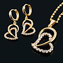 Double Heart Cubic Zircon Yellow Gold Earring+Pendant Set (GG1213) (Start From 3 Units)