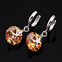 Fashion Citrine/Garnet Dangling &quot;X&quot; Earrings (ERS013-Citrine) (Start From 3 Units)
